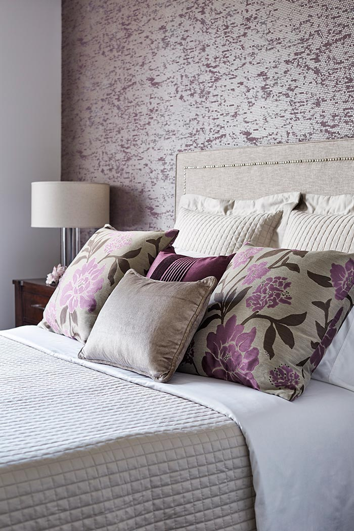 DFCL - Toronto's Luxury Interior Decorator Showcases 5 Bedrooms with Accent Wallpaper - Purple and Silver Dots