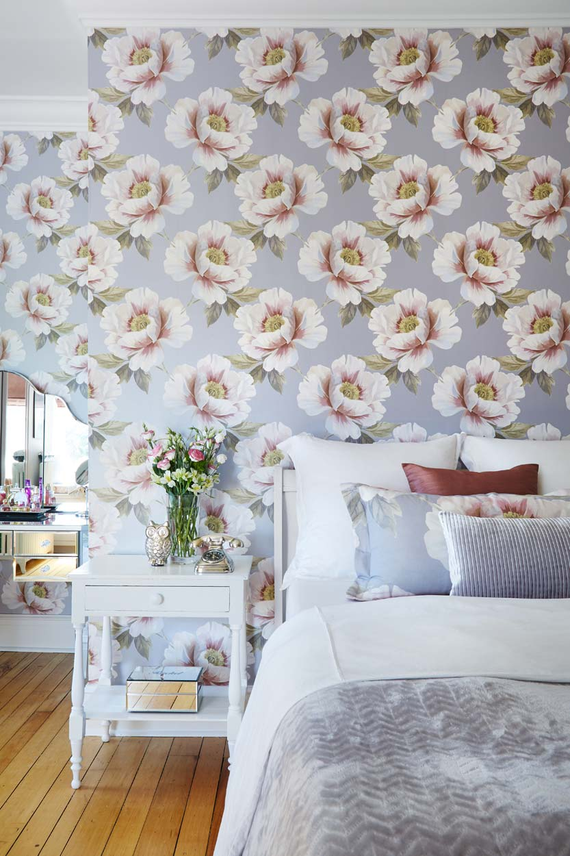 Design for Conscious Living - Toronto's Luxury Interior Decorator Showcases 5 Bedrooms with Accent Wallpaper - Big Floral Pattern