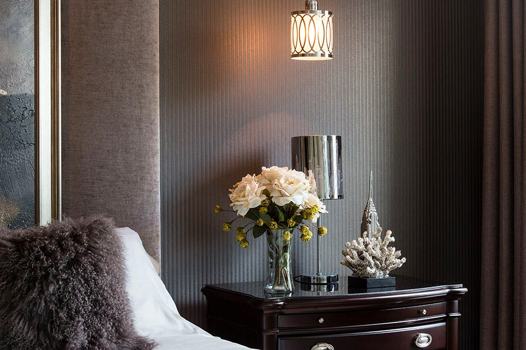 Design for Conscious Living - Toronto's Luxury Interior Decorator Showcases 5 Bedrooms with Accent Wallpaper - Dark Grey with Texture - Detail