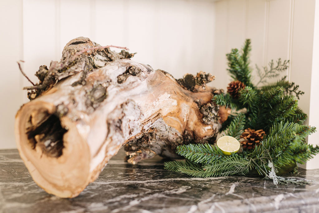 Design for Conscious Living - 5 Beautiful Ways to Decorate with Tree Stumps for Christmas - Log