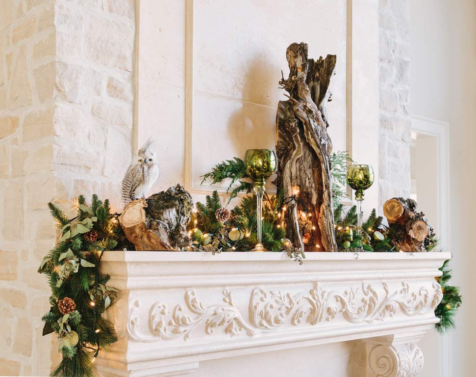 Design for Conscious Living - 5 Beautiful Ways to Decorate with Tree Stumps for Christmas - Mantel