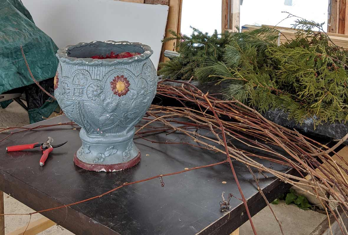 Design for Conscious Living - Handmade Seasonal Décor - Celia Resurfaces a Planter with Grapevines - PLANTERS, PRUNERS, GRAPEVINES, AND GREENERY