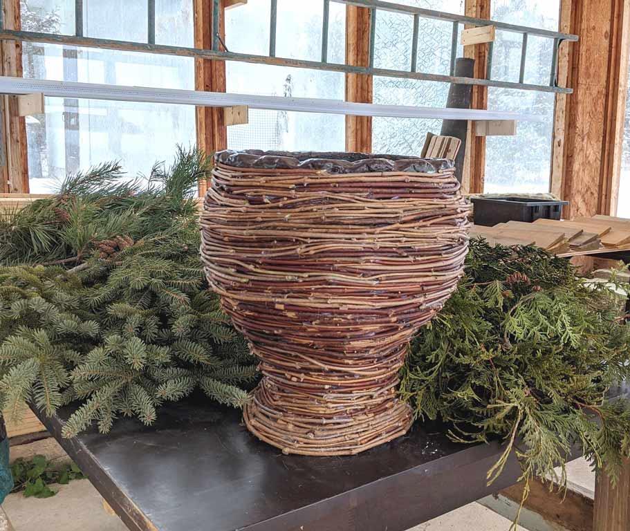 Design for Conscious Living - Handmade Seasonal Décor - Celia Resurfaces a Planter with Grapevines - THE FINISHED GRAPEVINE PLANTER