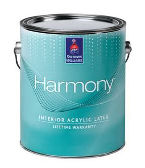 A one gallon container of Sherwin Williams Harmony paint.