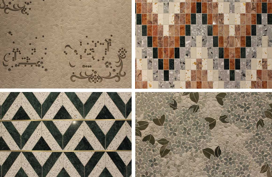 Four examples of the unique luxury tile selection at the Surfaces Co. booth at IDS 2020