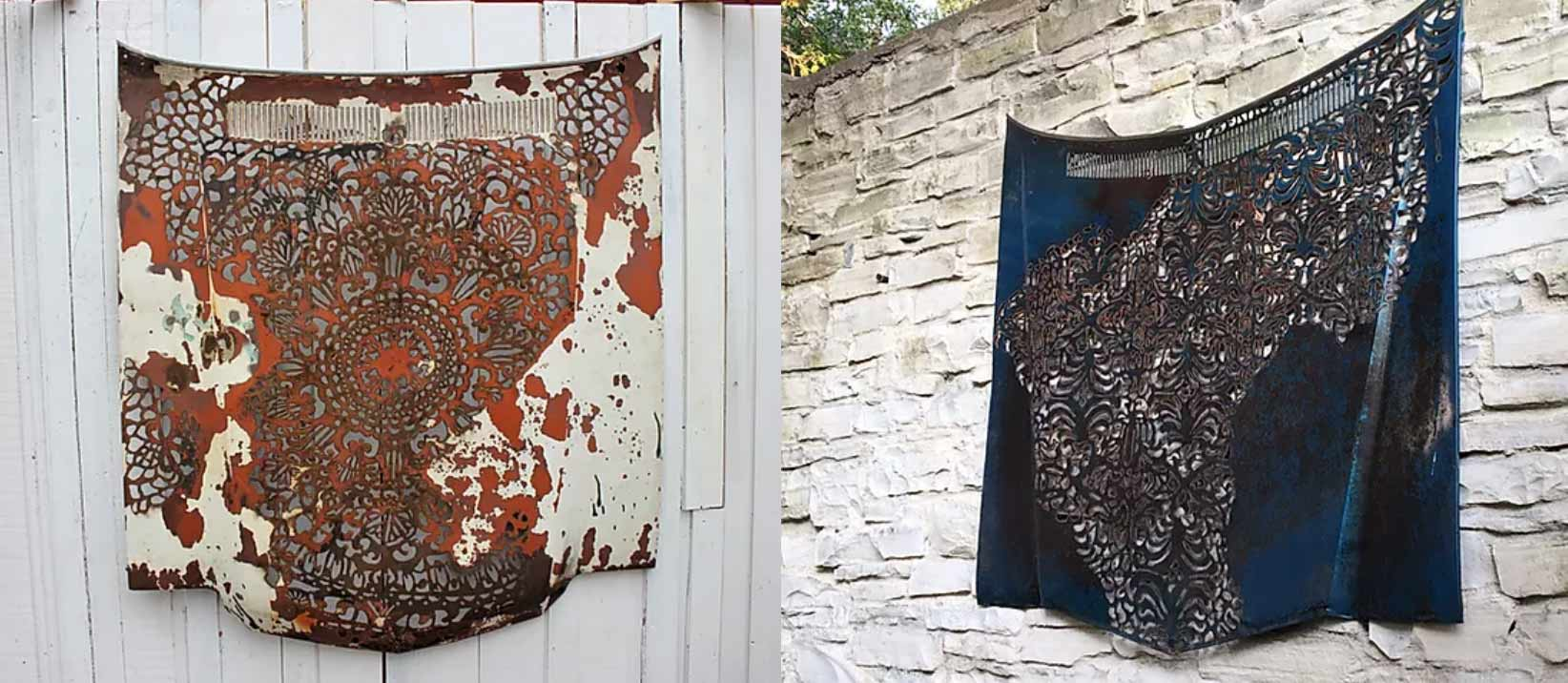 Pieces of metal taken from old cars, like a hood or a door, with intricate patterns carved out of them, and a mix of paint and rust for the finish.