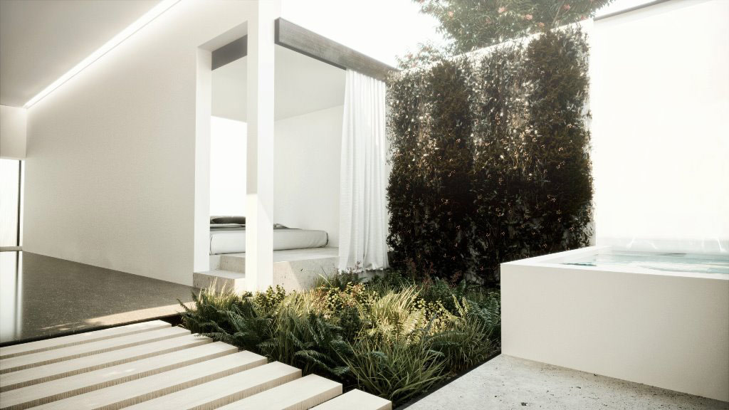 A clean calm interior space, softly illuminated with living greenery, white walls, a sleeping platform and soaking tub.