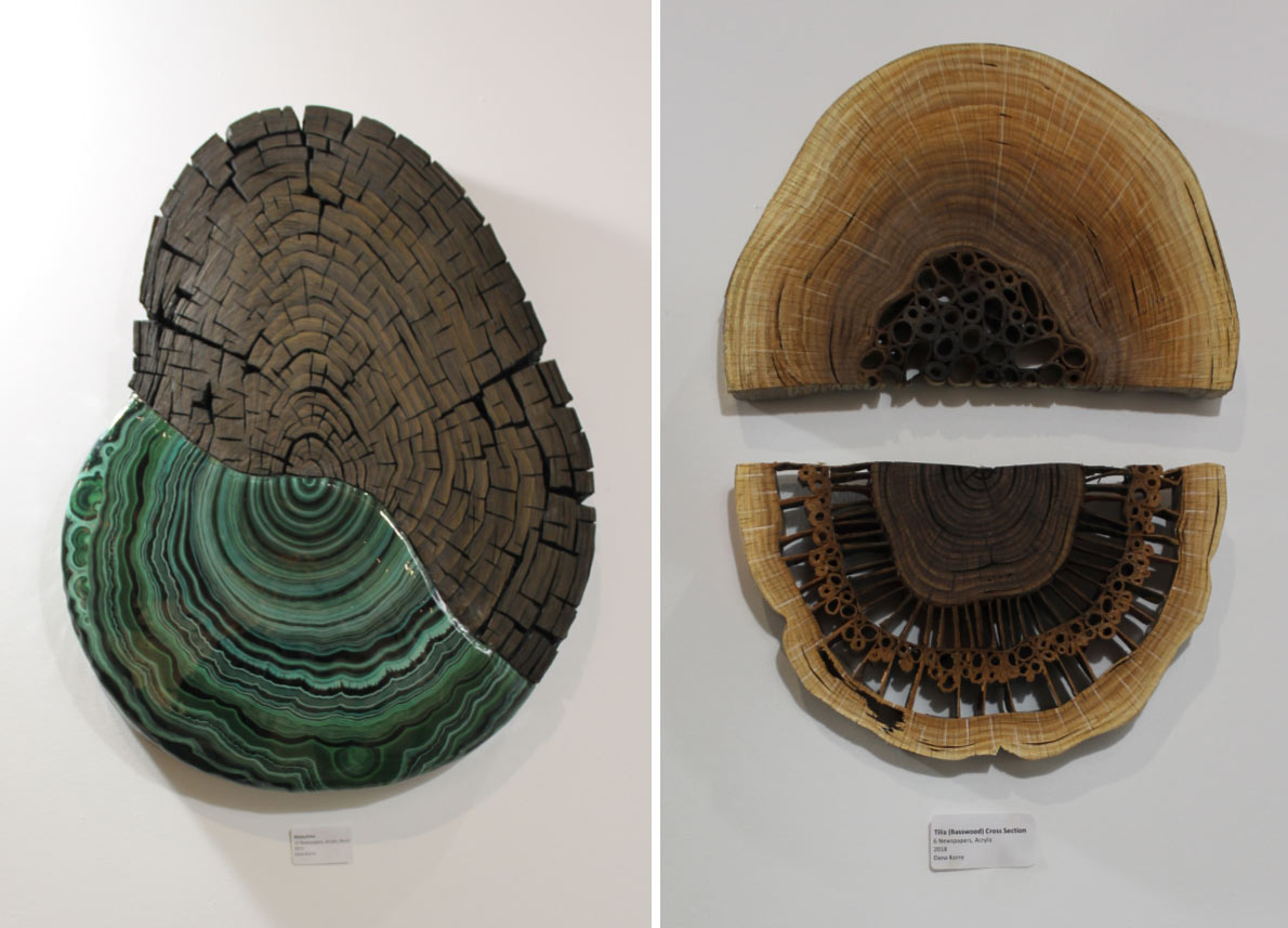 A series of artistic forms that replicate the look of the top of wood stumps with infused mineral coloured resin.