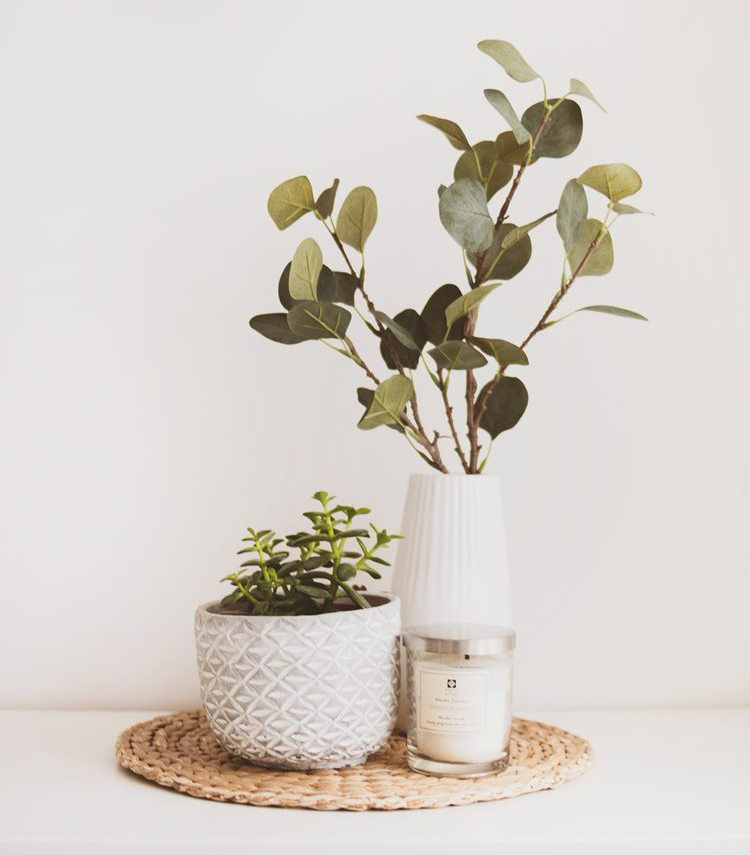 On the right is a small houseplant in a white pot; on the left is a taller white vase with branches; in front is a candle; and all three of these items sit on a woven straw matt.