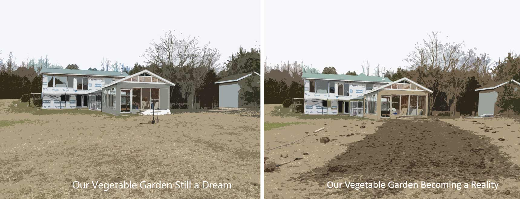 A before and after comparison of the plot of land in front of the greenhouse.