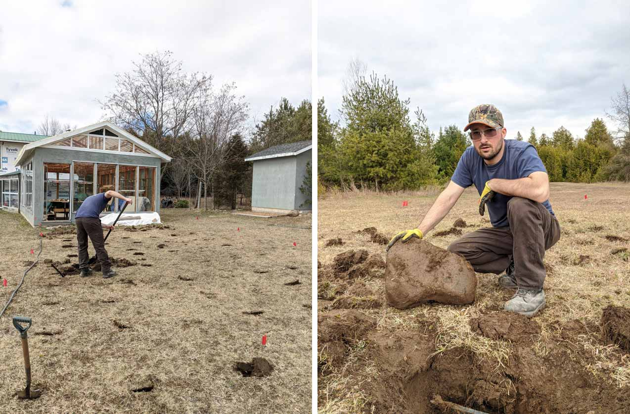 Before and after photos of Justin digging up rocks and kneeling beside his prize rock.