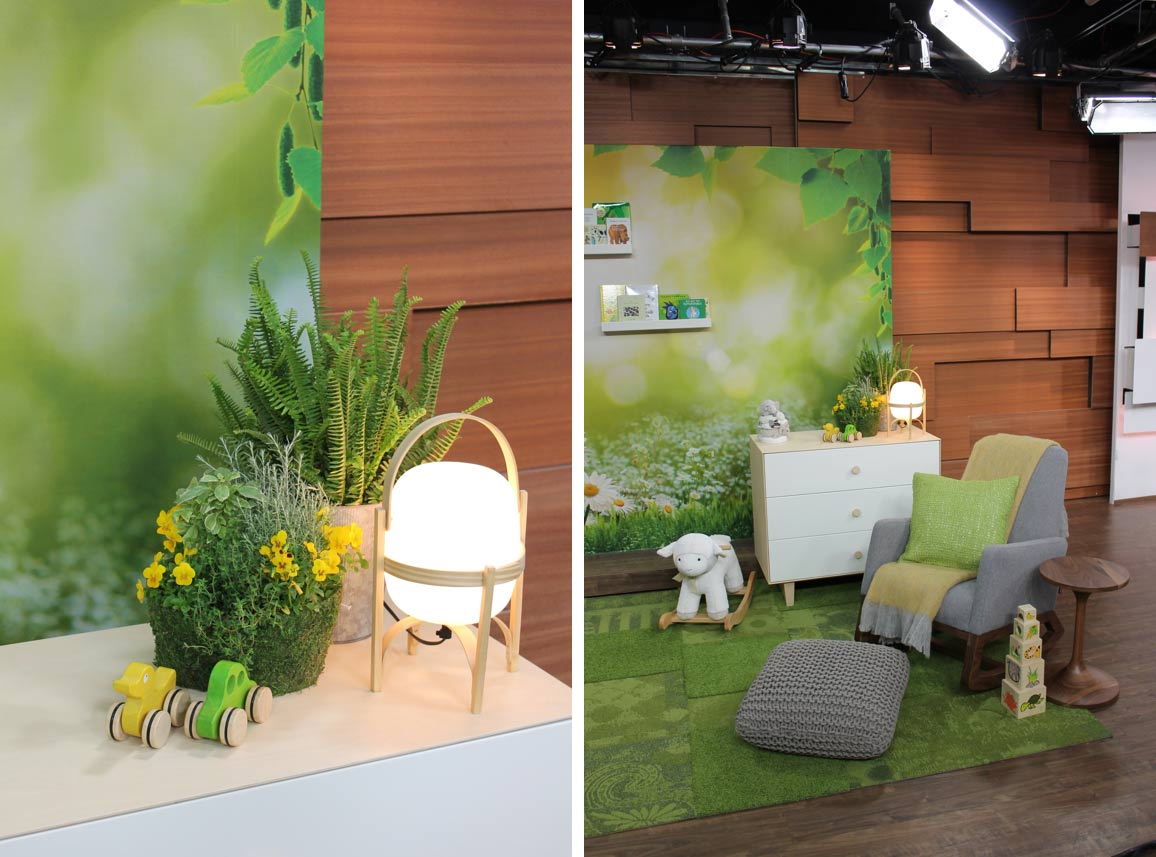 Close up set photos of the nature inspired nursery designed by Celia.